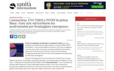 CORONAVIRUS, FNO TSRM e PSTRP in prima linea: «Fare rete sul territorio tra professionisti per fronteggiare emergenza» – Sanità Informazione