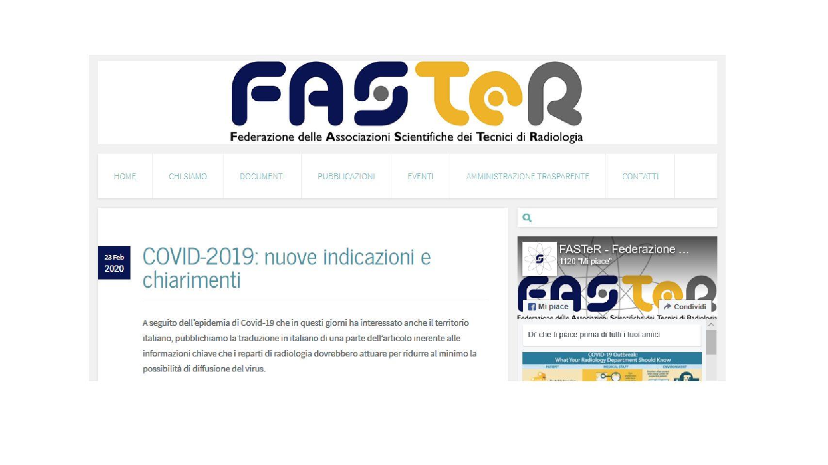 IMPORTANTE: Epidemia di Covid-19 – contributo FASTeR, informazioni per i servizi di RADIOLOGIA