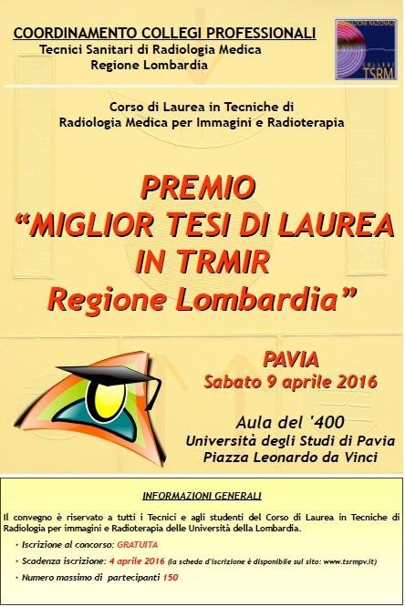 """PREMIO """"MIGLIOR TESI DI LAUREA IN TRMIR  Regione Lombardia"""""""
