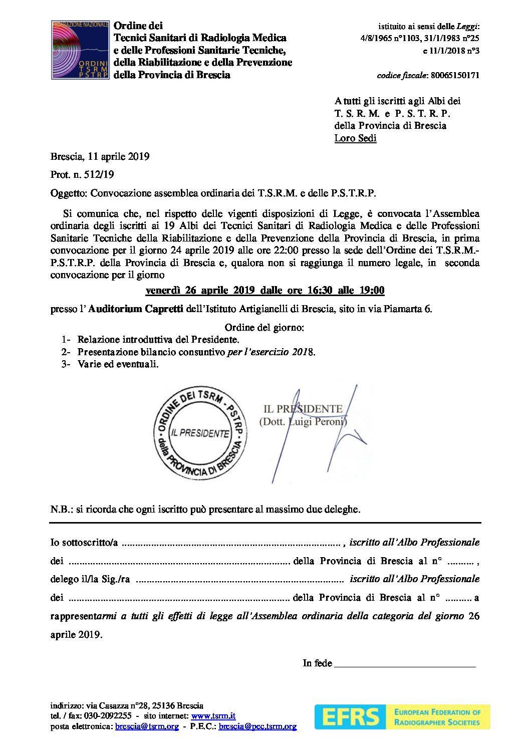 CONVOCAZIONE ASSEMBLEA ORDINARIA 26 APRILE 2019