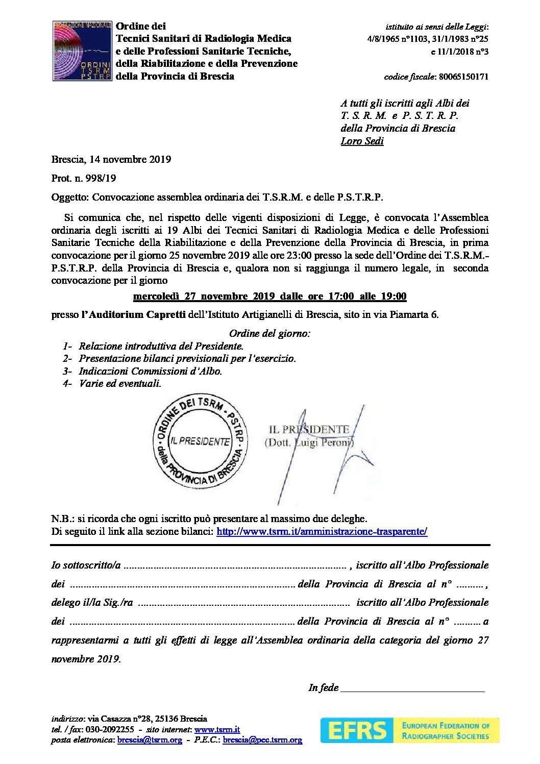 Convocazione Assemblea Ordinaria dell'Ordine TSRM-PSTRP di Brescia